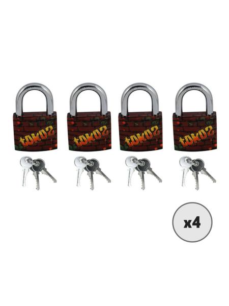 Lot de 4 cadenas TOKOZ avec motif graffiti