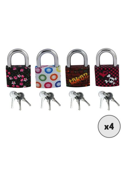 Lot de 4 cadenas à clé TOKOZ avec motif