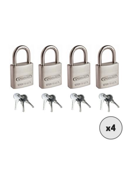 Lot de 4 cadenas à clé TOKOZ Kappa 25