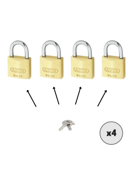 Lot de 4 cadenas ABUS 65/30 s'entrouvrant