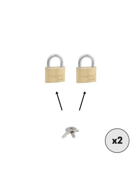 Lot de 2 cadenas MASTER LOCK 4145 clés identiques