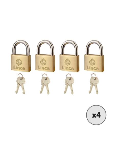 Lot de 4 cadenas à clé LINCE 300-40